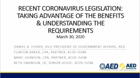Recent Coronavirus Legislation: Taking Advantage of the Benefits and Understanding the Requirements